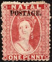 South Africa Natal 1869 rose 1d crown CC overpr small caps with stop mint SG50