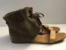 SEE BY CHLOE Leather Ankle Strap Flat Sandals 8.5 / 38.5 Tan Brown