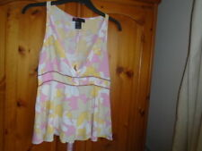 Pastel pink and yellow pattern plunge neck summer top, DIESEL, size M, UK 10-12