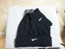 Nike Youth/Boys Winter Cuffed Hat & Gloves Set Nw $20 Black W/White Logo Nice