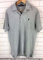 Polo Ralph Lauren Golf Shirt Men's Medium Gray Short Sleeve Knit Contrast Plaid
