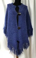 "Agabhumi Bohemian Poncho Knit Cardigan Shawl Cape 5"" Fringe - One Size Fits Most"