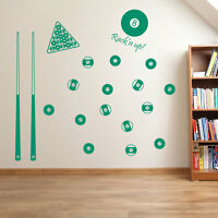 Poolballs Pool Cue Table 9 Ball American Pocket Colourful Wall Stickers Set A65