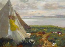 Irish artist William Orpen Art Postcard Woman in Blue Dress at Window seat
