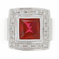 Men's 14k White Gold 0.33ctw Synthetic Ruby & Diamond Square Ring Size 10