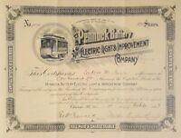 ANTIQUE 1893 STOCK CERTIFICATE PENNOCK BATTERY ELECTRIC LIGHT TROLLEY TN SEAL MA