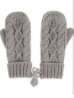 Gray Mittens Womens One Size Knit Knitted Winter Warm Lined Thick
