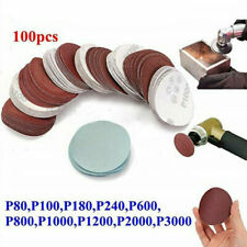 100PC Sanding Disc Sand Paper 80-3000 Grit Hook Loop Sander Drill Adapter 2inch
