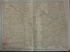 1922 LARGE AMERICA MAP ~ OKLAHOMA RAILROADS ELECTRIC LINES CITIES ~ RAND MCNALLY