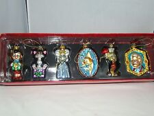 Vintage Disney Store Pinocchio Blown Glass Ornament Rare Set of 6 with Box MINT