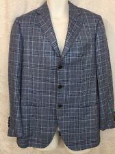Cesare Attolini Jacket Multicolor Blue Stitched Trim Three Button Size 39 R