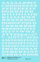 K4 O Decals White 1/4 Inch Money Letters Letter Number Alphabet Set