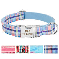 Customized Personalised Dog Collar with Name Plate Nylon Collars Metal Buckle