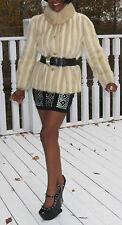 Unique white Cream beige Mink Fur coat jacket bolero stroller S 0-6