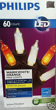 PHILIPS LED 60 WARM WHITE ORANGE  MINI STRING LIGHTS BLACK  WIRE TREES HOLIDAY