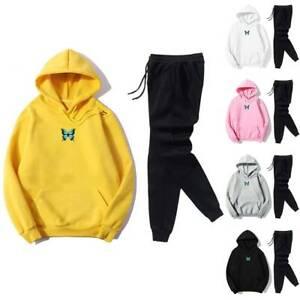 Ladies Tracksuit Sets Butterfly Printed Hoodie Tops Jogging Trousers Activewear