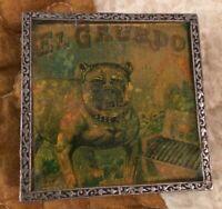 "ANTHROPOLOGIE Bulldog Trinket Box Silver ""El Guardo"" Vintage Inlay Print USA"