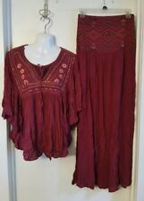 Japna Embroidered Peasant Top Maroon Crochet Swing Blouse Boho Hippie XS