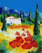 Grande toile de Nolac 50X40 cm tableau cyprès aux coquelicots provence