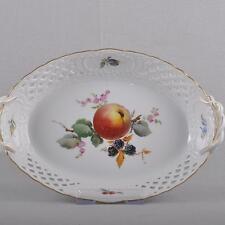 Meissen ovale Obstschale / Durchbruchkorb / Schale, Obst Früchte Malerei