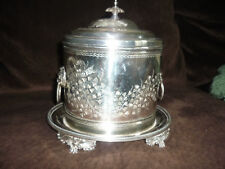 STUNNING ANTIQUE OVAL COVERED SILVERPLATE BISCUIT TIN/ SIGNED/ EXCELLENT!