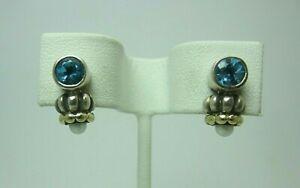 Lagos Caviar Sterling Silver 18k Yellow Gold Blue Topaz Pearl Earrings