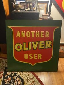 Rare Vintage 34x34 Inch Metal Oliver Tractor Sign Embossed Green Back. Near Mint