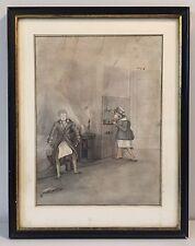 Ancien dessin crayon lavis encre XIXème siècle, scène, tableau