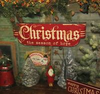 Primitive Antique Vtg Style Classic Red Christmas Season of Hope Tin Metal Sign
