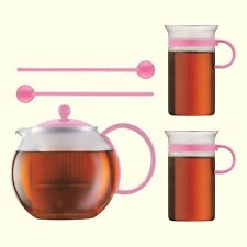 Genuine Bodum Assam Tea Set 34oz Tea Press Glass Mugs Spoons Pink European