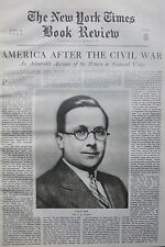 PAUL BUCK - THE ROAD TO REUNION USA CIVIL WAR  1937 June 13 NY Times Book Review