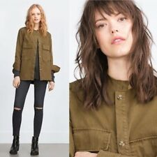 ZARA Women's Military Jacket Size M Green Collarless Blogger Chic Pockets