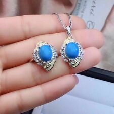 Certified Blue Turquoise 925 Sterling Silver Ring Pendant Necklace Set+Chain