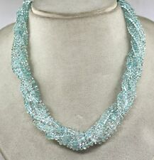 3 LINE 568 CTS BLUE TOPAZ ROUND BUTTON BEADS NECKLACE WITH SILVER HOOK