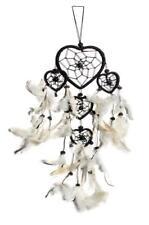 40cm x 9cm  Dreamcatcher Herz Traumfänger Schwarz Weiße Federn Gute Träume