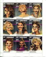 SPECIMEN ST Vincent MADONNA Sheet of 9 Stamps Postage MINT NH