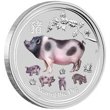 Australien 2 Dollar 2019 Jahr des Schweines Lunar II. 2 OZ Silber ST in Farbe
