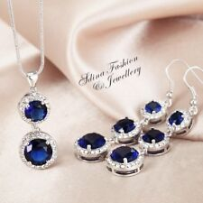 18K White Gold Plated Made With Swarovski Element Round Cut Shiny Sapphire Set