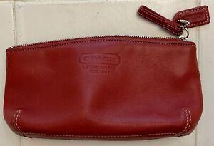 Coach Clutch Purse Red Leather Pouch Zipper