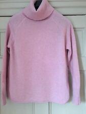 Jigsaw Pink Ladies Polo Neck 100% Merino Wool jumper Size M