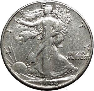 1944 WALKING LIBERTY Half Dollar Bald Eagle United States Silver Coin i44719