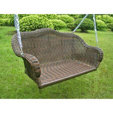 Brown Resin Wicker Hanging Love Seat Porch Swing Home Patio Furniture Outdoors
