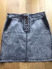 Rainbow Jeans Mini Skirt Grey Leather Straps Size 10 M Casual Pockets Weekend Of
