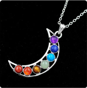 Silver 7 Beads Moon Of Luna Energy Healing Point Chakra Pendant Necklace