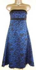 OASIS royal blue satin netted strapless cocktail party prom dress UK 10