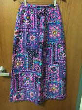 Vintage 1960's 1970's BoHO Chic Flower Child Quilted Purple Maxi Skirt NOS Hippy