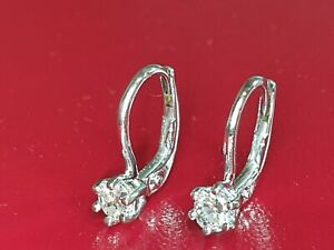 0.46ct SECONDHAND 14ct WHITE GOLD DIAMOND DROP EARRINGS FOR PIERCED EARS