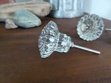 Clear Glass Crystal Glass Cabinet DRAWER PULL KNOB ~ Home Decor ~ Diamond Cut