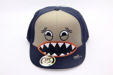 CUTE MONSTER CHARACTER SNAP BACK HAT CAP COTTON ADJUSTABLE NAVY/GRAY