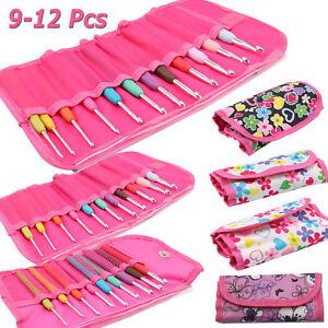 9-12Pcs Multi Color Soft Grip Set Handle Aluminum Crochet Hook Knitting Needles